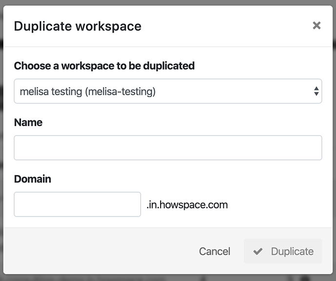 Modal before naming the workspace